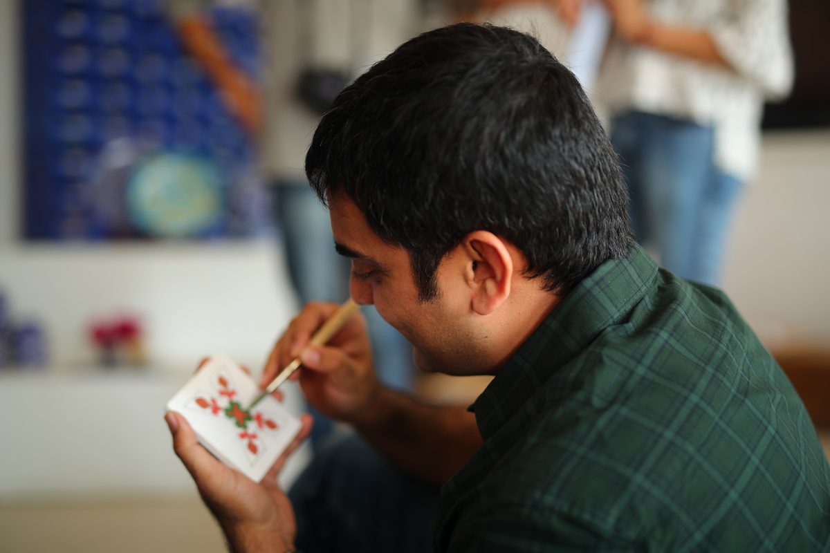 Ajit sharma TEDx represenatative painting on tile