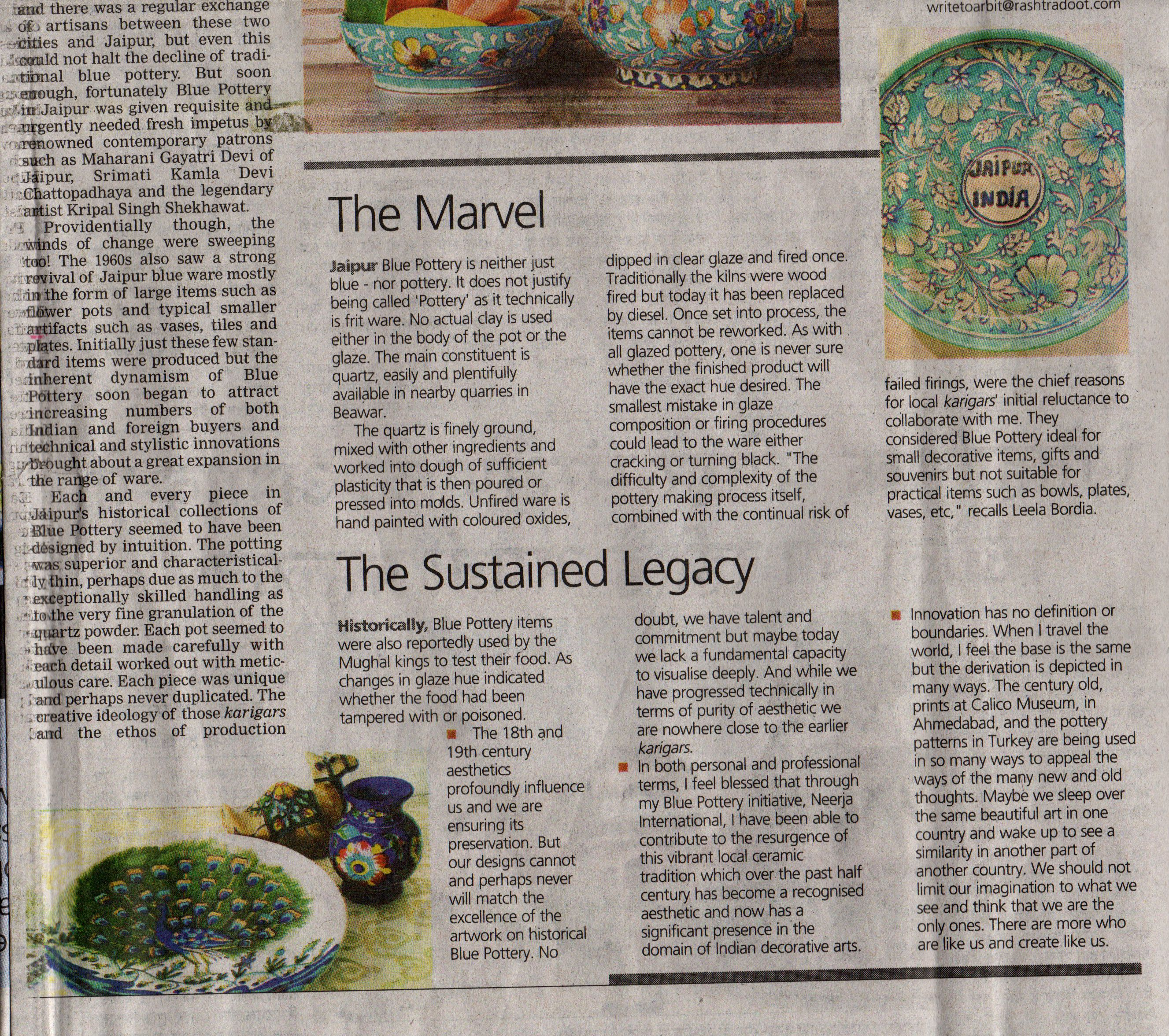 Leela Bordia - History of Blue Pottery