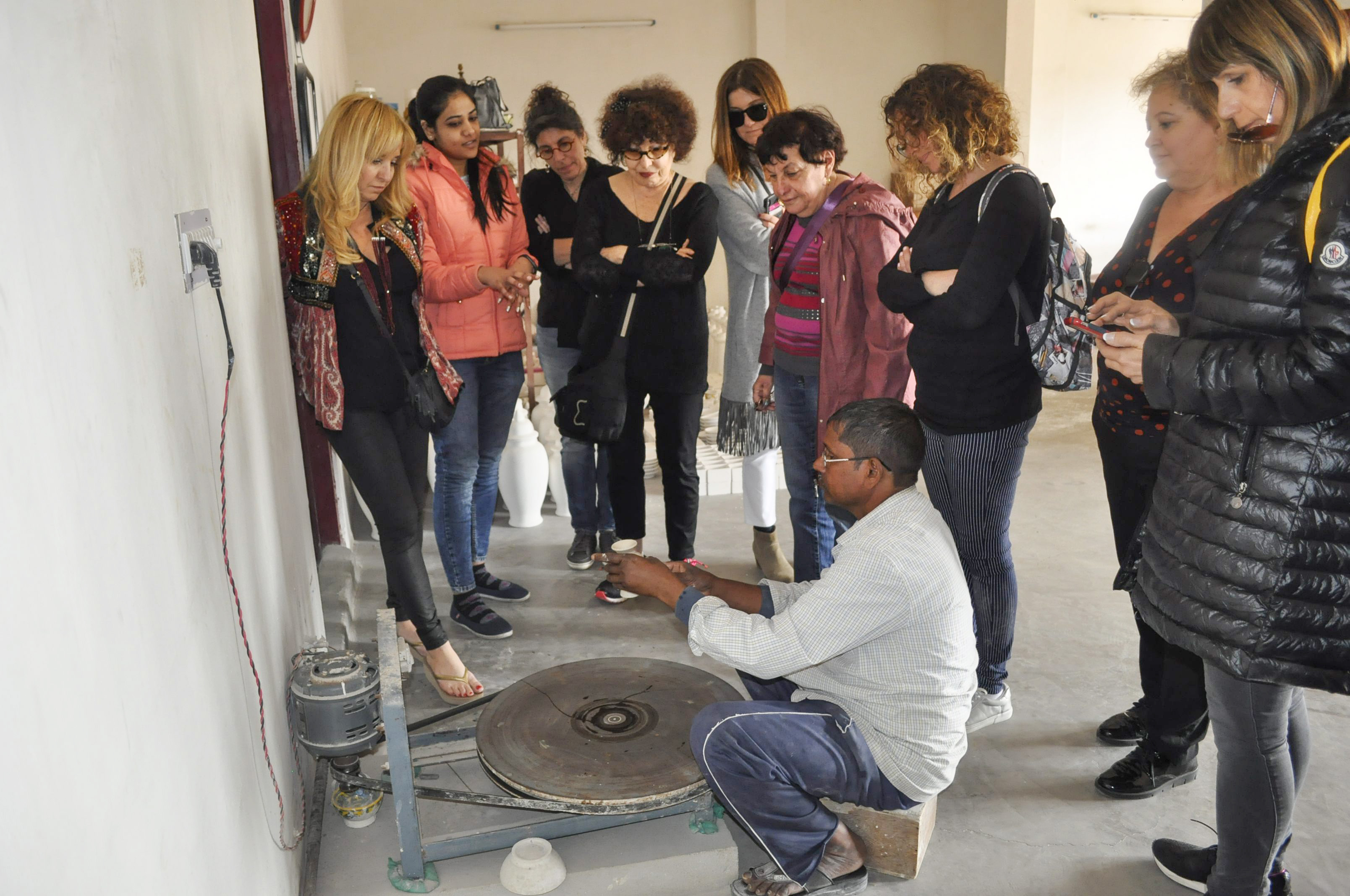 Group was engaged to see how products are made on pottery wheel