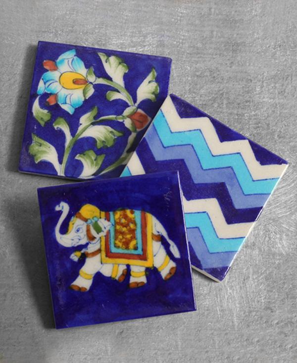 Blue Pottery Tile 3x3