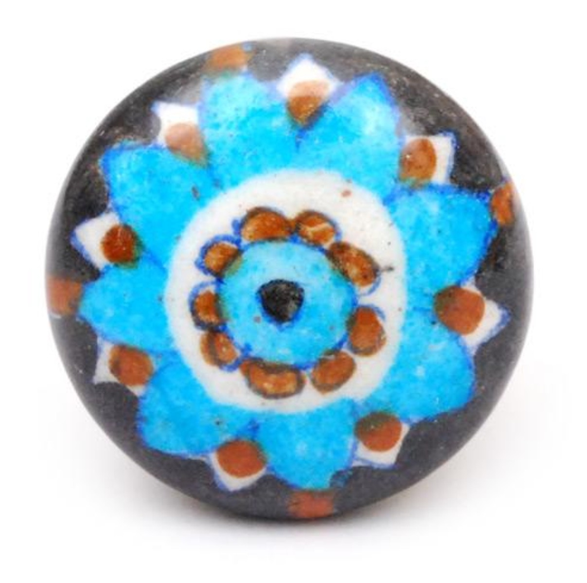 Black, Brown, White And Turquoise Ceramic Cabinet Knob