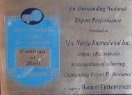 Certificate Of Merit awarded by the Export Promotion Council for Handicrafts
