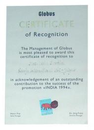 Certificate of Recognition presented to Leela Bordia by Globus, Switzerland (1994)