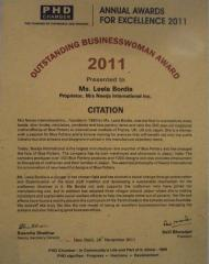 Outstanding Business Woman Award - 2011 By PHD Chamber of Commerce