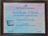 Certificate of Merit for Excellent Export Growth for Ceramic Artwares 2011-2012 by E.P.C.H.