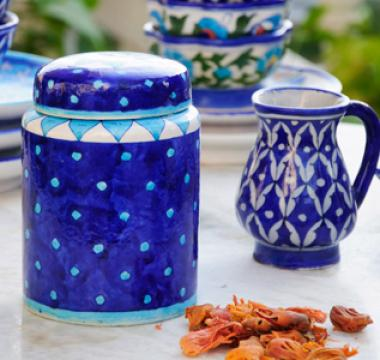 Blue Pottery Canisters and Jars