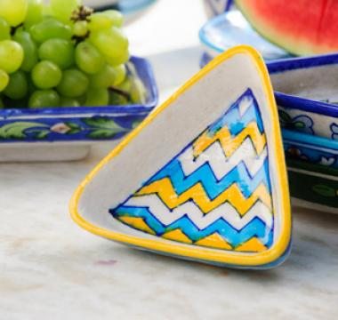 Neerja Blue Pottery Triangle Bowls