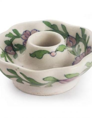 Jaipur Blue Pottery Handmade Candle Plate Mellon Shape 3 inches -White Base with Pink Flower