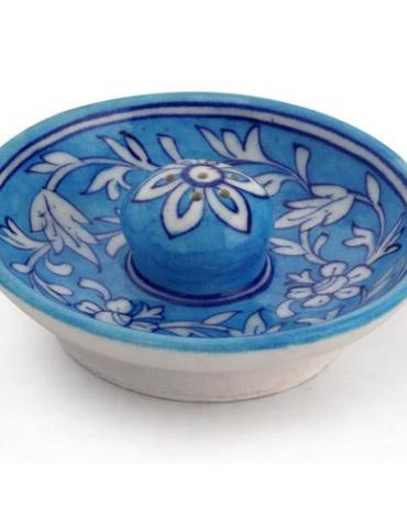 Jaipur Blue Pottery Handmade Incense Holder with Plate - Turquoise Base with white Flower