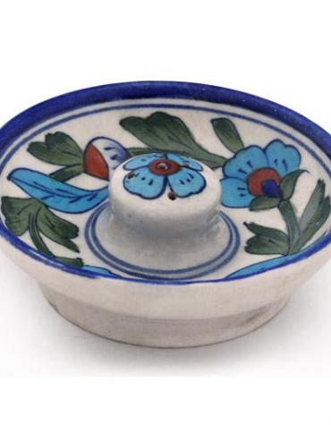 Jaipur Blue Pottery Handmade Incense Holder with Plate - White Base with Turquoise Flower