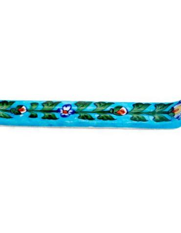 Jaipur Blue Pottery Handmade Long Incense Holder - Turquoise Base with Blue Flowers