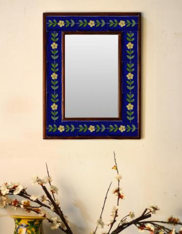 "Blue Embossed Tiled Mirror with Yellow Flowers and Green Leaves 12"" x 16"""