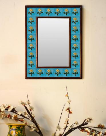 "Turquoise base embossed Tile Mirror with flower and leaves 12"" x 16"""