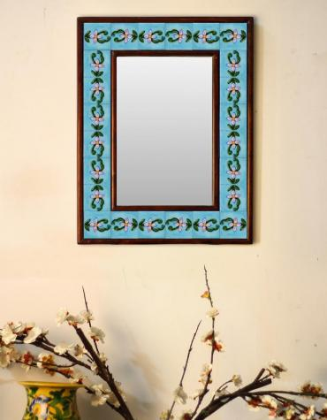 "Turquoise base embossed Tile Mirror with flower pattern 12"" x 16"""