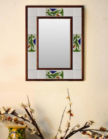 "White base embossed Tile Mirror with floral and leafy pattern 12"" x 16"""