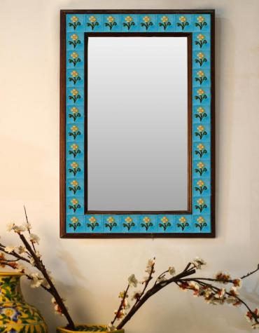 "Turquoise Embossed Tiled Mirror with Yellow Flowers 16"" x 24"""