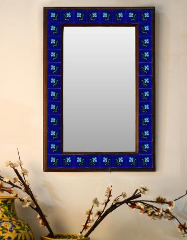 "Blue Embossed Tiled Mirror with Flowers and Green Leaves 16"" x 24"""