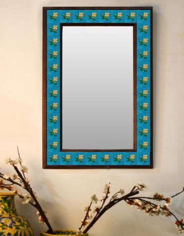 "Yellow flower with turquoise base Embossed Tiled Mirror 16"" x 24"""