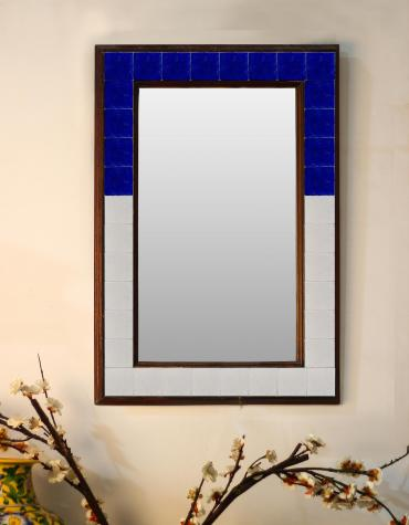 "Solid Blue and White base Tiled Mirror 16"" x 24"""