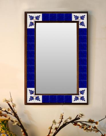 "Absolute Blue and White base Floral Tiled Mirror 16"" x 24"""