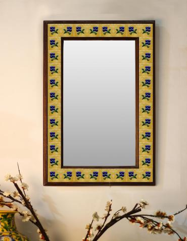 "Blue flower with yellow base Embossed Tiled Mirror 16"" x 24"""