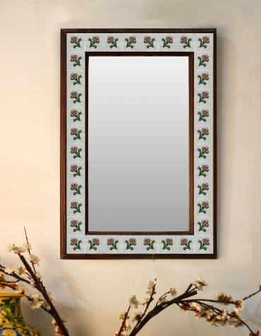 "White Floral Embossed Tiled Mirror 16"" x 24"""