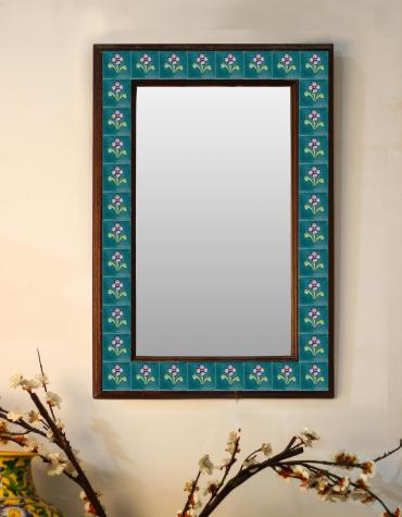 "Teal Color Floral Embossed Tiled Mirror 16"" x 24"""
