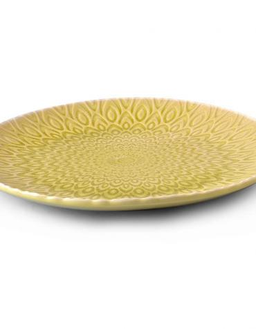 "Handmade Stoneware Plate  8"" embossed - Lime Green Colour"