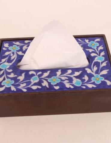 Neerja Wooden Napkin Holder with Jaipur Blue Pottery Handmade Tile