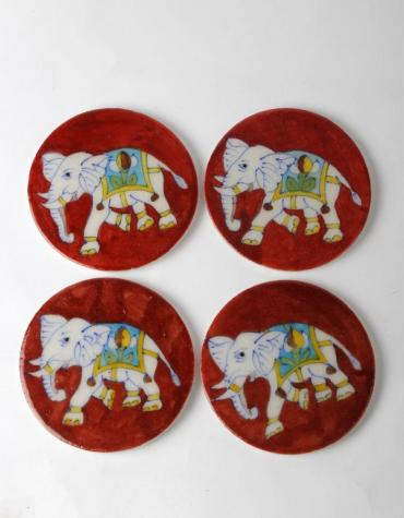 Elephant Design on Red Coasters