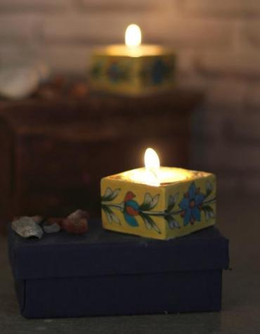 Jaipur Blue Pottery Handmade square T-light set of 2 pcs with Handmade paper Box - Yellow Base with turquoise flower