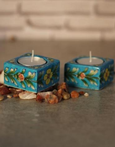 Jaipur Blue Pottery Handmade Square T-light Holder set of 2 pcs  - Turquoise Base with yellow flowers