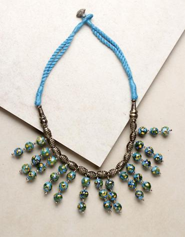 3 BLUE POTTERY BEAD CHOKOR NECKLACE