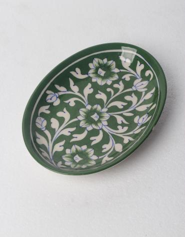 White Leaf on Green Base Oval Plate