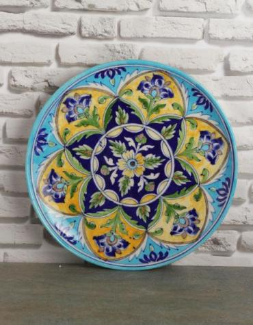 "Handmade Multi color Blue Pottery 10"" Plate"