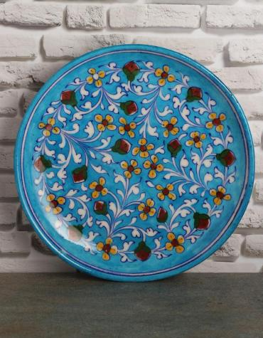 "Jaipur Blue Pottery Handmade Wall Plate 10""  with Turquoise Base with Yellow Flowers"