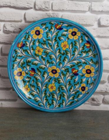 "Jaipur Blue Pottery Handmade Wall Plate 10"" with  Turquoise Base and Yellow Flowers"