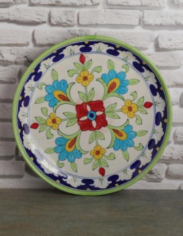 "Jaipur Blue Pottery Handmade wall Plate 10""  with Green and White theme"