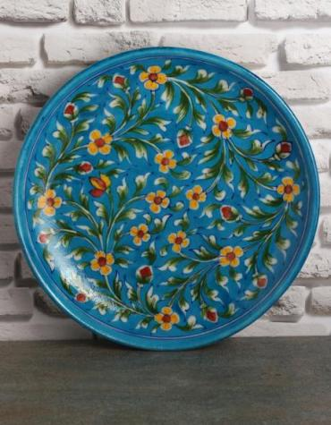 "Jaipur Blue Pottery Handmade wall Plate 10""  - Turquoise Base with Yellow basant bahar Flowers"