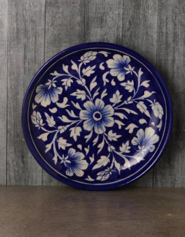 "Jaipur Blue Pottery handmade Wall Plate 8""  in Blue Base with white Flowers"