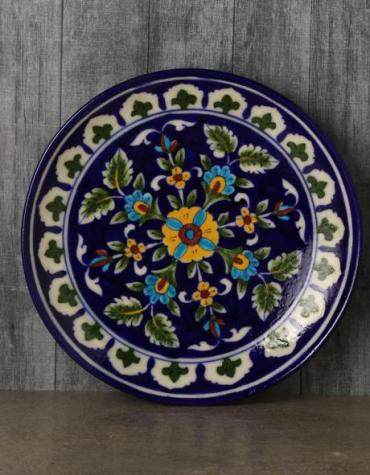 "Jaipur Blue Pottery handmade Wall Plate 8""  in Blue Base with Yellow and Turquoise Flowers"