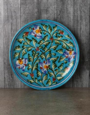 JAIPUR BLUE POTTER HANDMADE  WALL HANGING PLATE  (TURQUOISE BASE WITH BLUE FLOWERS )  8""
