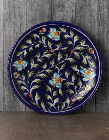 Jaipur Handmade Blue pottery traditional floral wall Plate  8 inches