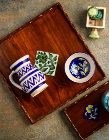 Neerja Blue Pottery wooden tile tray 12x12 inch