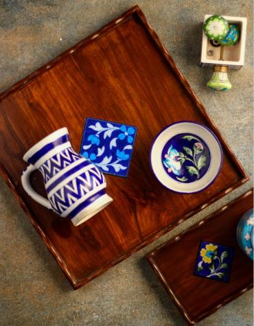 Neerja Blue Pottery Wooden Blue and White tile tray 12x12 inch