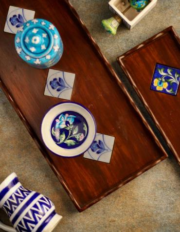 Neerja Exclusive Blue and White Tile Wooden Tray 18x8 inch