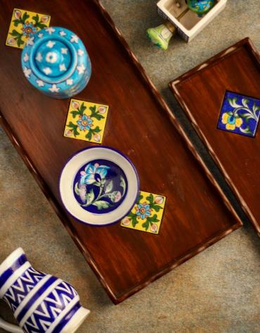 Neerja Blue Pottery Tile Wooden Tray 18x8 inch