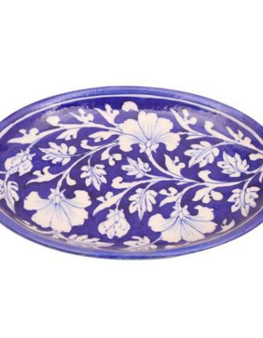 White Flowers and Leaves With Blue Base Oval Plate