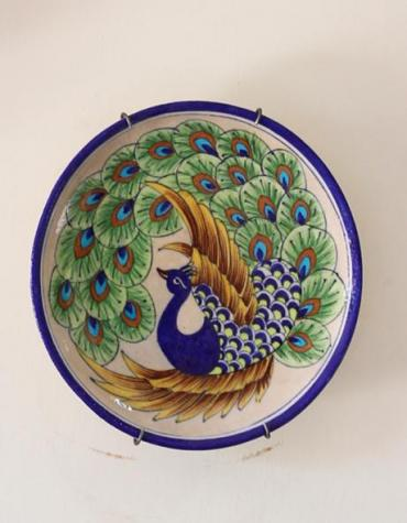 Jaipur Blue Pottery Handmade Peacock design Wall Hanging  Plate 8 inches