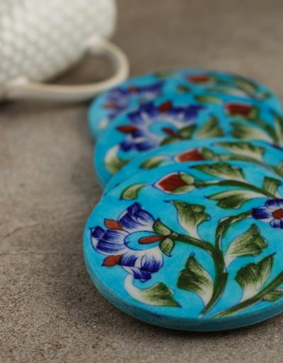 Neerja Blue Pottery Tea Coasters
